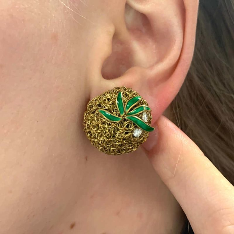 18ct wire work pineapple earrings with diamonds