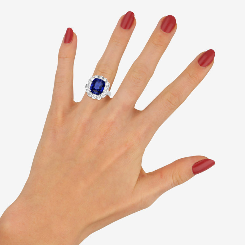 Art Deco Style 7.62ct Blue Sapphire and Diamond Cluster Ring