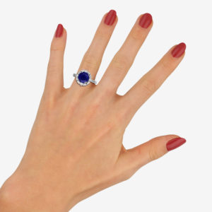 Royal Blue Sapphire and Diamond Cluster Ring