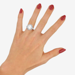 3.75ct Round Brilliant Diamond Halo Engagement Ring in Platinum