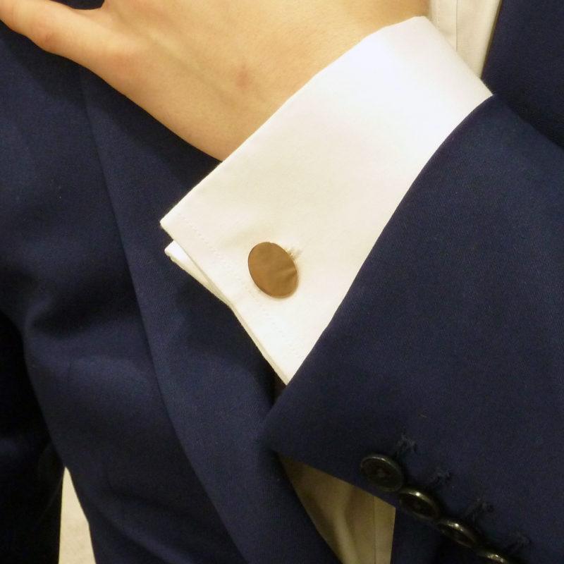 9k yellow gold oval chain link cufflinks