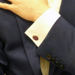 Red and Blue Enamel Silver Chain Link Cufflinks