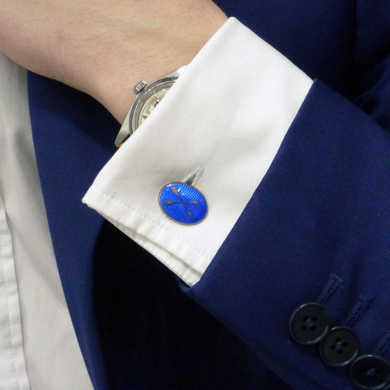 Blue enamel rowing cufflinks