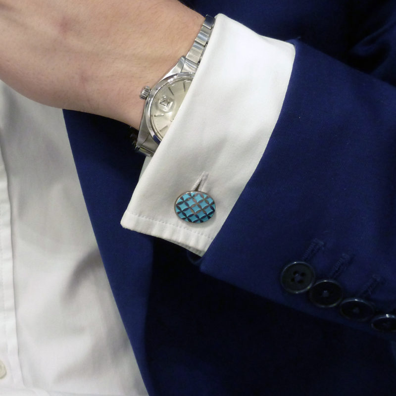 Blue enamel criss cross cufflinks