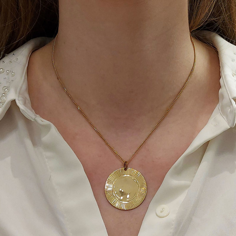 Large Disc Pendant Set in 9k Yellow Gold