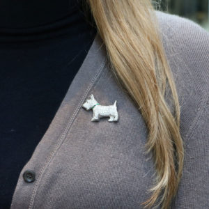 Diamond and emerald Scottish Terrier brooch
