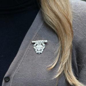 Mid-20th Century Geometric Panel Diamond Brooch in Platinum