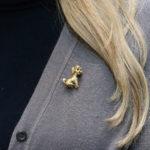 Gold Sitting Poodle Brooch
