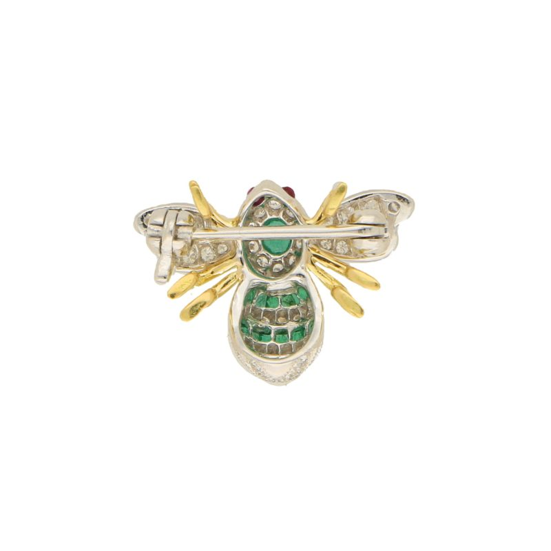 Emerald and Diamond Bee Brooch