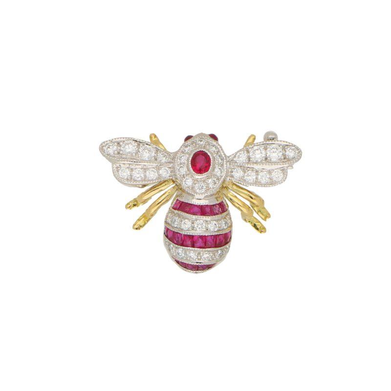Ruby and Diamon Bee Brooch
