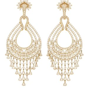 18.25ct Diamond Chandelier Tassel Earrings in Yellow Gold