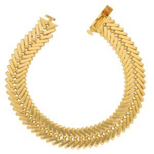 Vintage Van Cleef & Arpels Chevron Bracelet in Yellow Gold