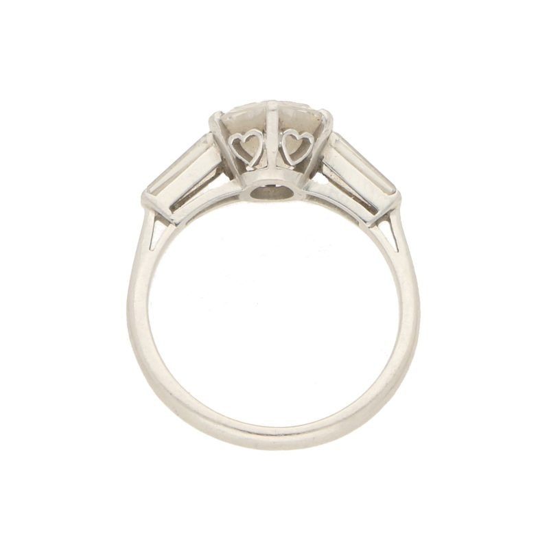 1.85ct Diamond Solitaire Ring With Baguette Shoulders Platinum