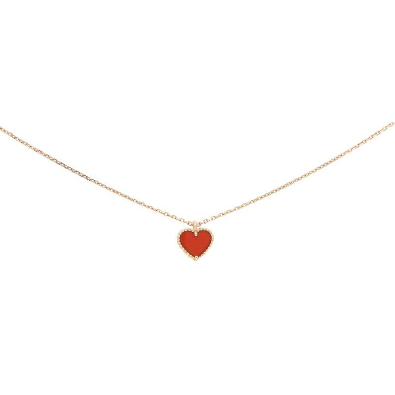 Van Cleef & Arpels Sweet Alhambra Carnelian Heart Necklace Gold