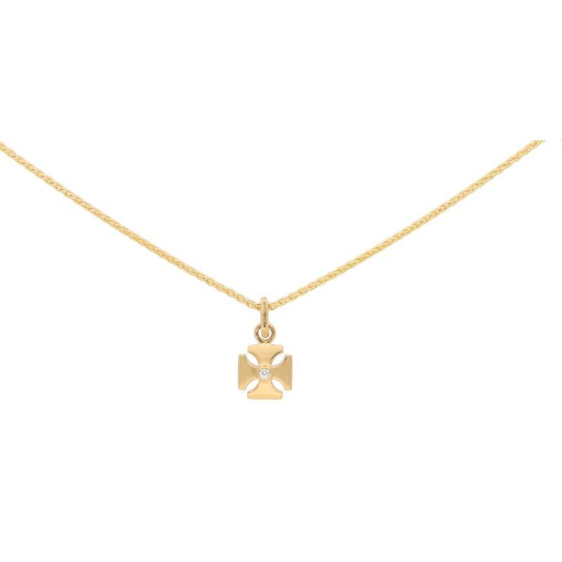 Garrard Diamond Maltese Cross Pendant/Charm in Yellow Gold