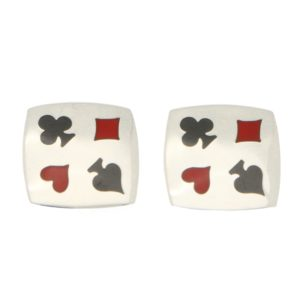 Playing Card Enamel Cufflinks in Sterling Silver, Italian