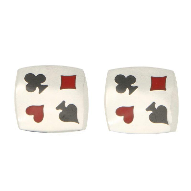 Playing Card Enamel Cufflinks in Sterling Silver, Italian