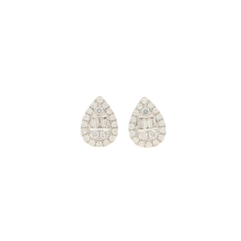 Tear Drop Tapered Diamond Ear Studs