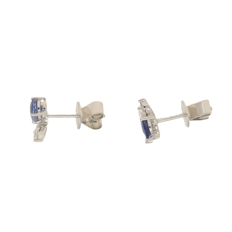 Sapphire and Diamond White Gold Orchid Earrings