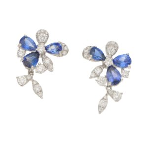 Sapphire and Diamond Daisy Drops