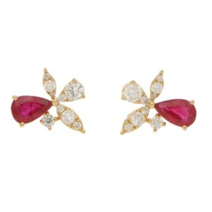 Ruby and Diamond Yellow Gold Orchid Earrings