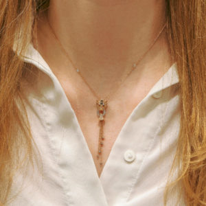 Diamond, Enamel and Ruby Tiger's Head Necklace in Rose Gold