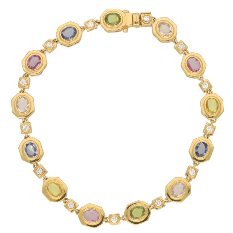 Yellow Gold Rainbow Sapphire and Diamond Bracelet