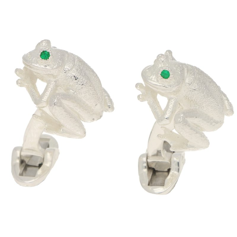 Emerald Eye Frog Cufflinks in Sterling Silver