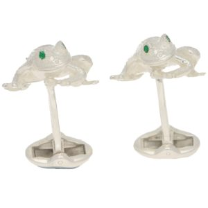 Men's emerald eye frog cufflinks in sterling silver