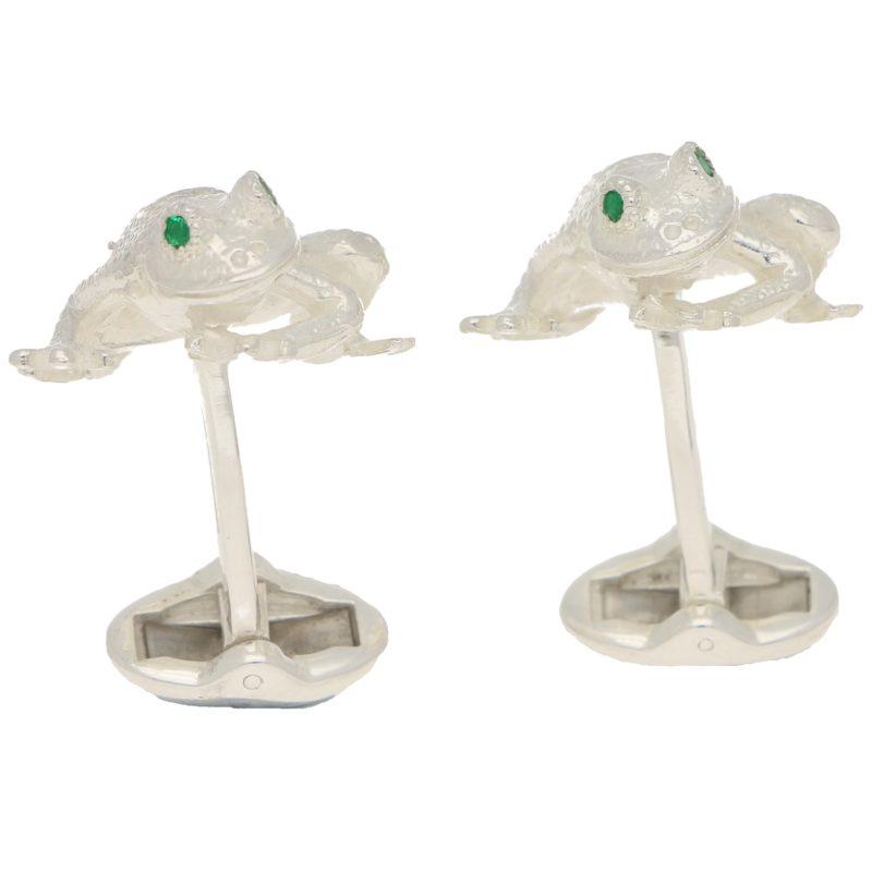 Men's emerald eye frog cufflinks in sterling silver