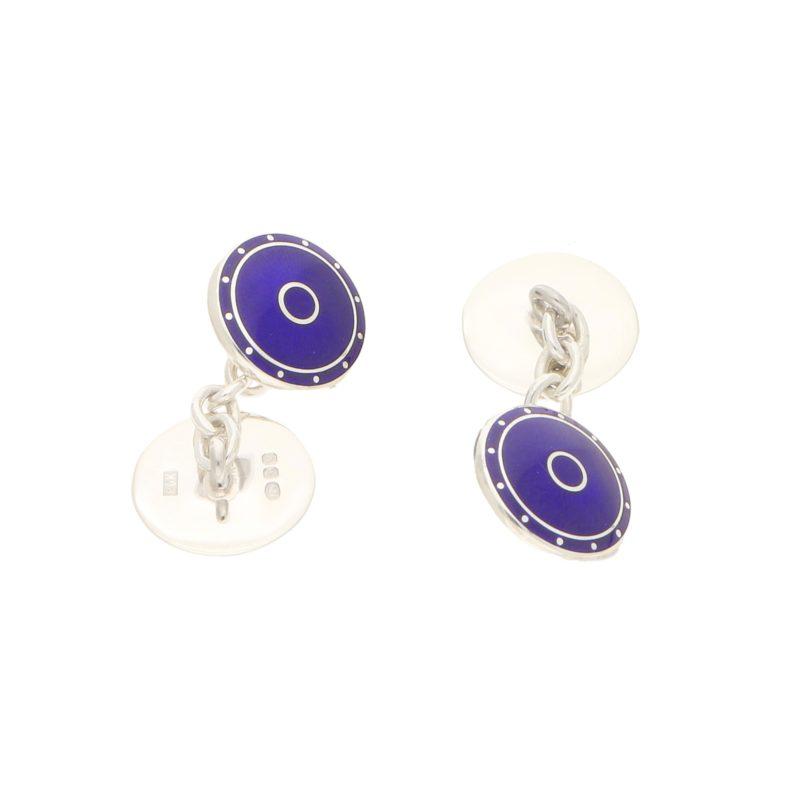 Men's blue enamel round chain link cufflinks in sterling silver