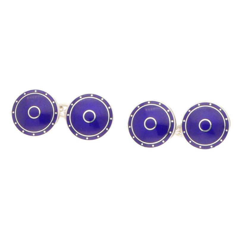Navy blue enamelled circular cufflinks