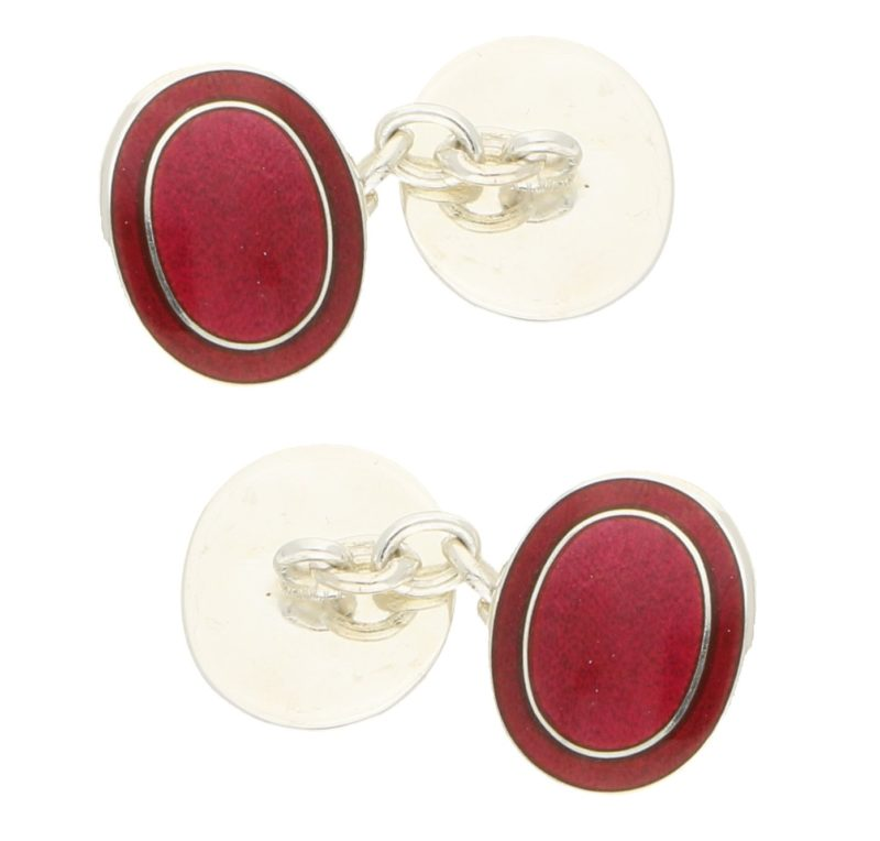 Red Enamel Frame Chain Cufflinks in Sterling Silver