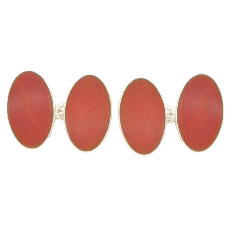 Men's burnt orange oval enamel cufflinks in sterling silver