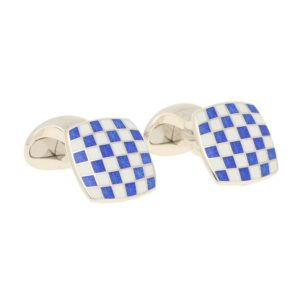 Men's blue and white enamel link cufflinks in sterling silver