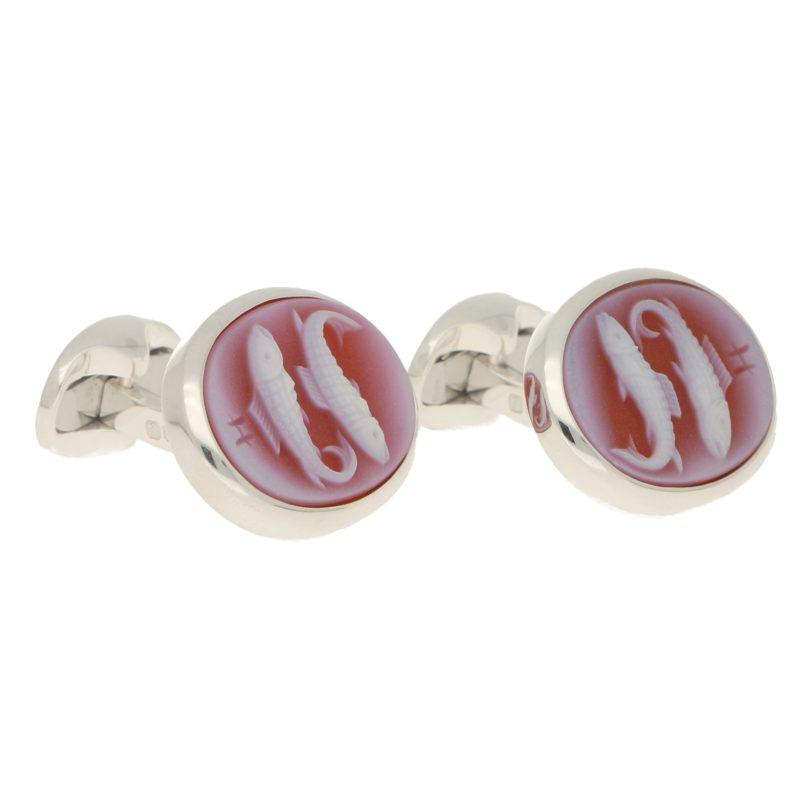 Men's sardonyx cameo pisces cufflinks link in sterling silver