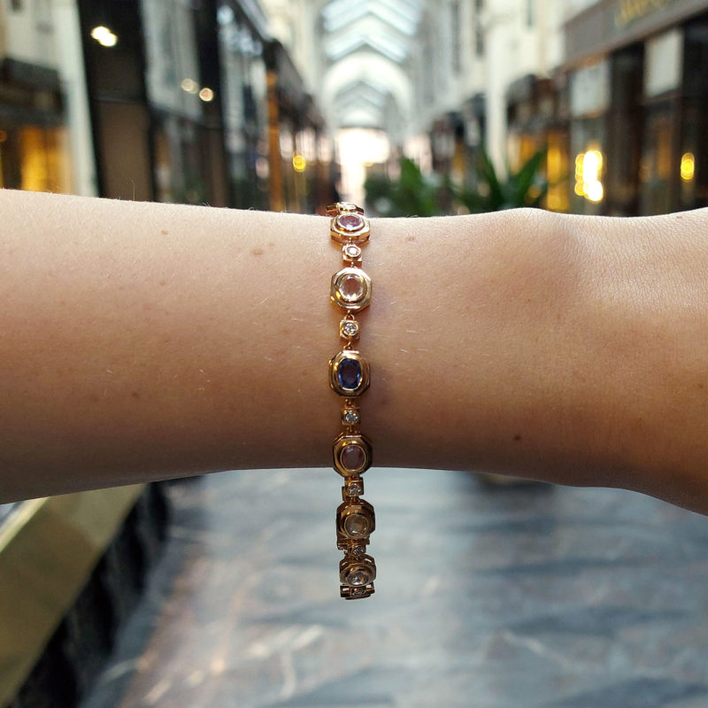 Rose Gold Rainbow Sapphire and Diamond Bracelet