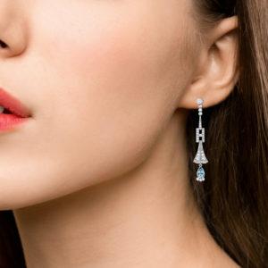 Art Deco Aquamarine and Diamond Drop Earrings