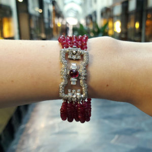 Art Deco Ruby and Diamond Bracelet with Platinum Geometric Clasp