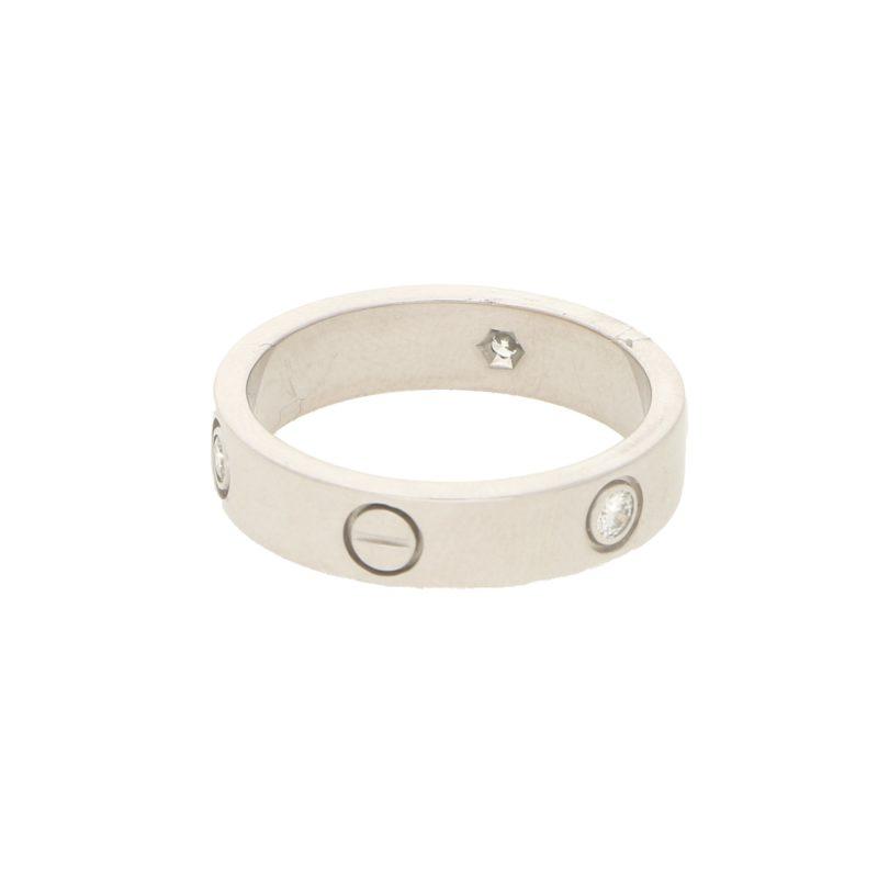 Men's Cartier Love Ring Three Diamonds White Gold