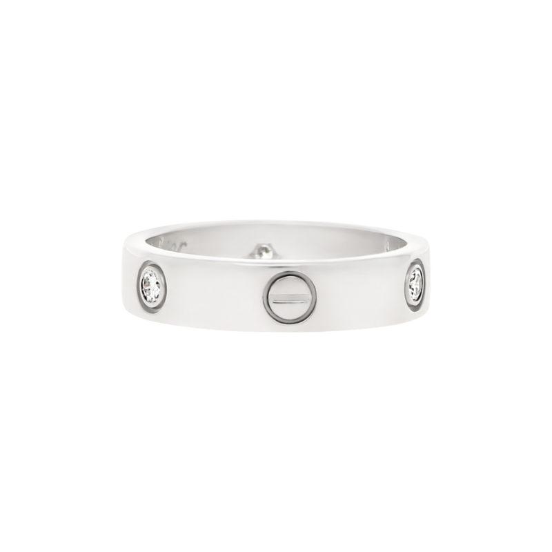 Vintage Cartier Three Diamond Love Ring Size 63