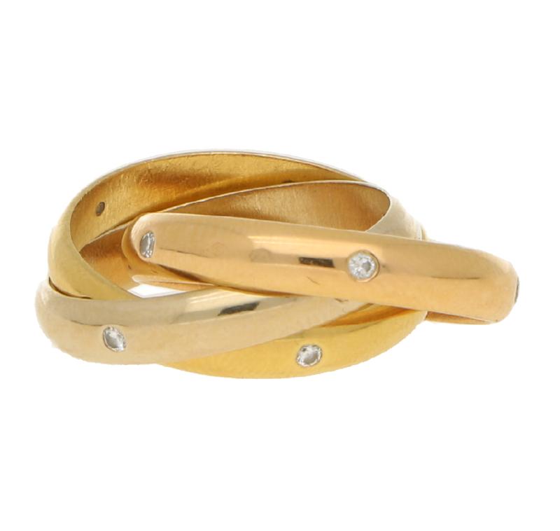 Cartier Diamond Trinity Ring inTricolour Gold