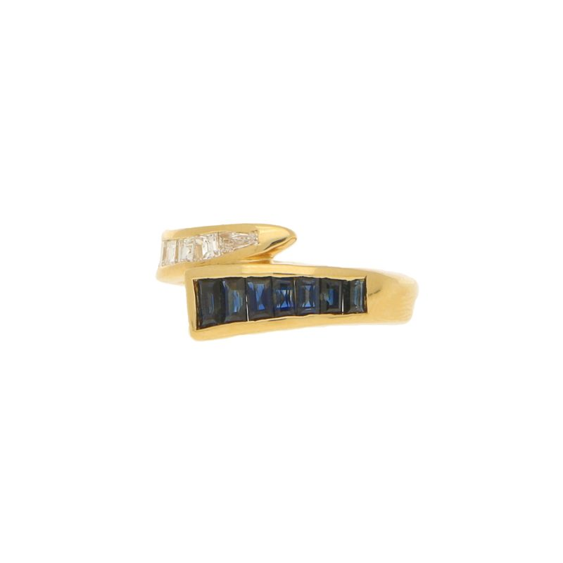 Sapphire Diamond Fancy Crossover Half Eternity Ring Yellow Gold
