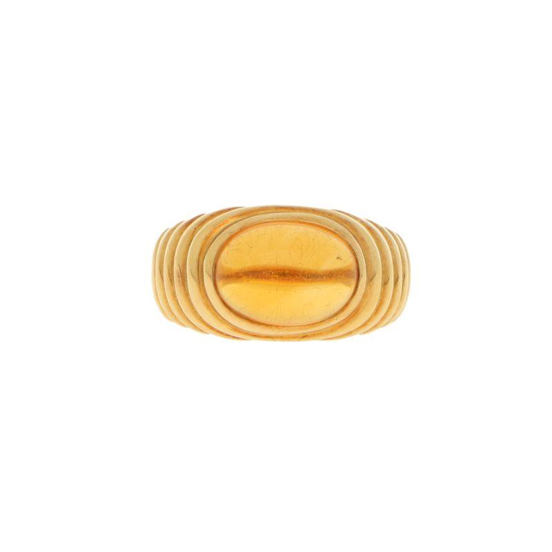 Bulgari Bypass Citrine Ring in Yellow Gold