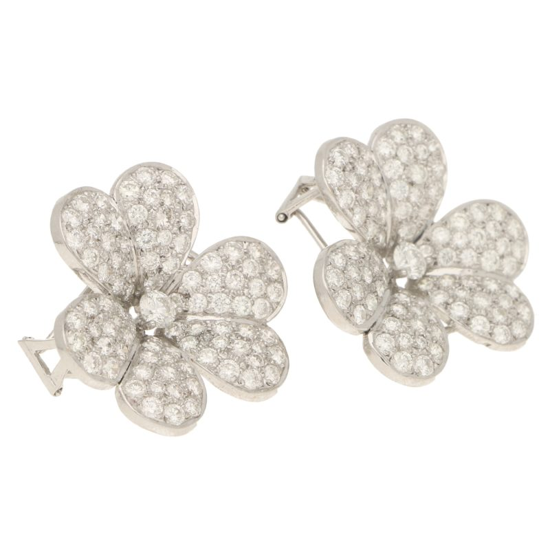5.80ct Diamond Clover Earrings in White Gold