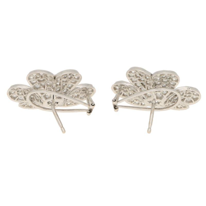 5.80ct Diamond Clover Earrings in White Gold
