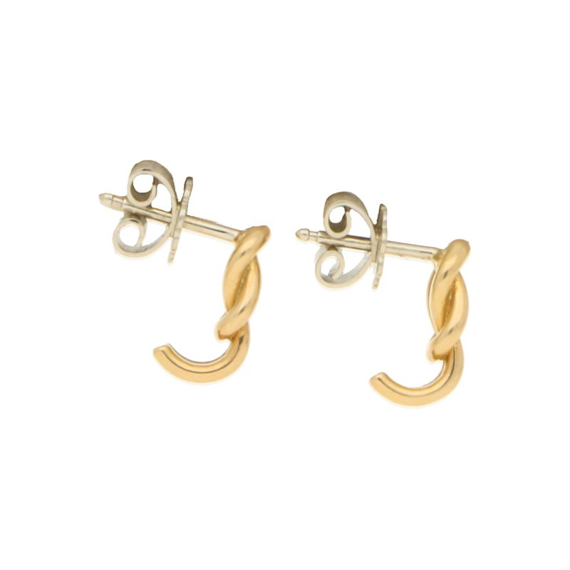 Knot Hoop Earrings in Yellow and White Gold