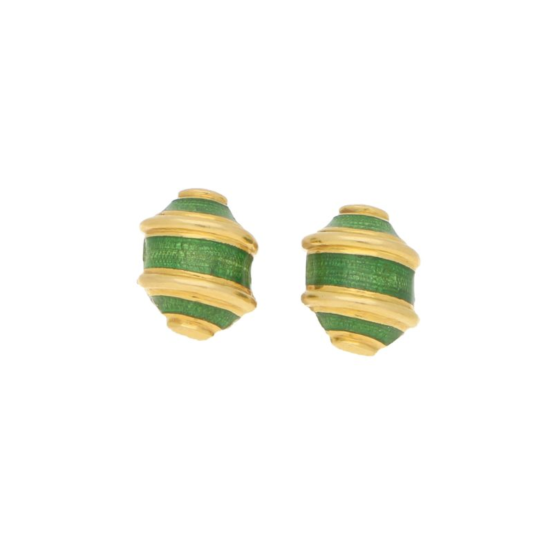 Tiffany & Co. Schlumberger 'Olive' Green Enamel Earrings