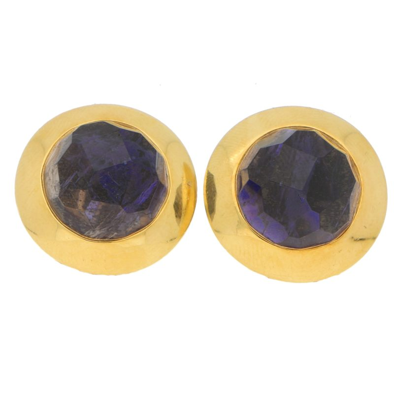 12.60ct Pomellato Iolite Clip Earrings in Yellow Gold