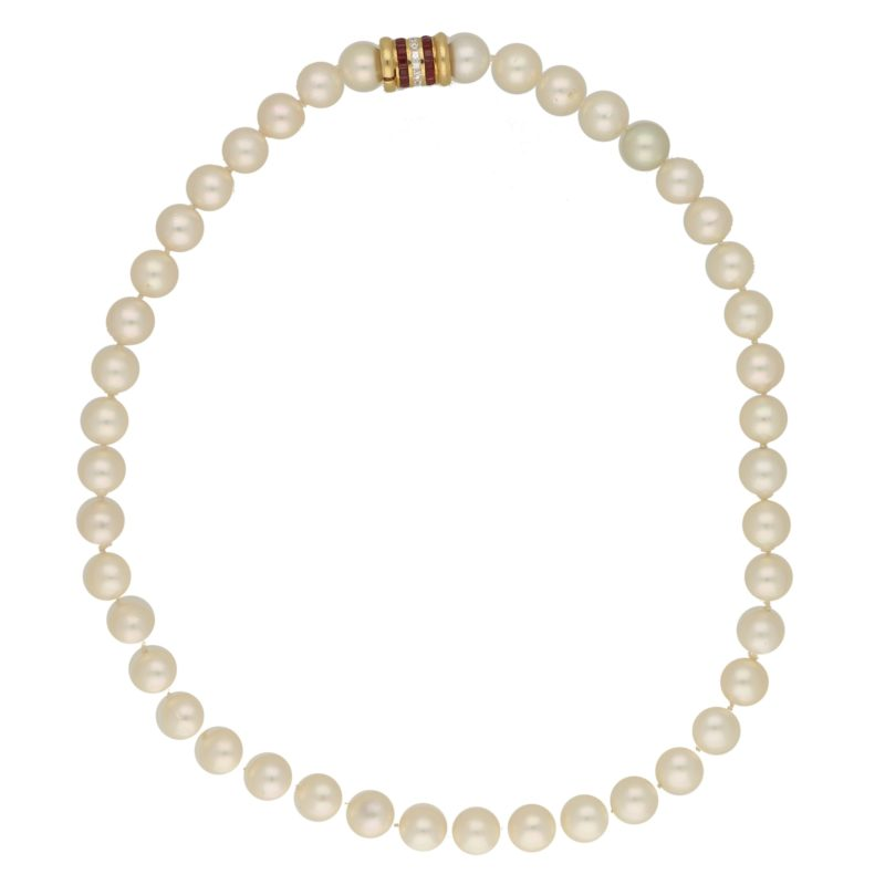 Cultured pearl necklace with a diamond and ruby clasp